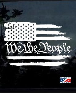 Image of We The People Weathered American Flag Vehicle Decal
