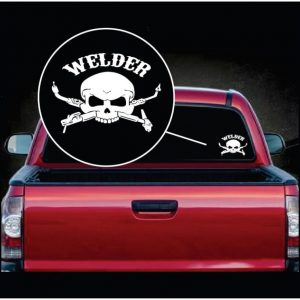 Image of Skull and Welder Torch Window Decal