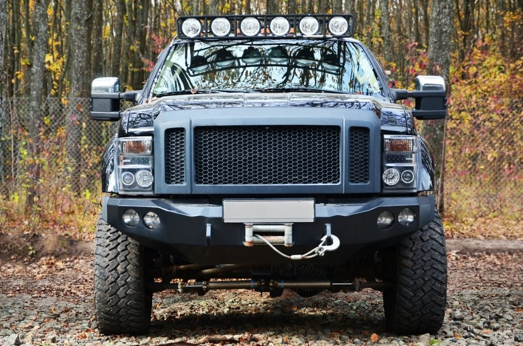 Image of a huge truck in the fall foliage