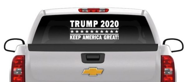 Image of Trump 2020 Truck Decal on Back Windshield