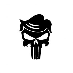 Punisher logo with trump hair graphic decal