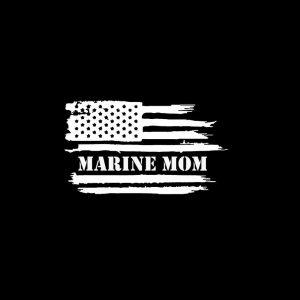 Marine Mom American Flag Decal Sticker