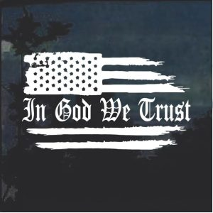 Image of In God We Trust Weathered Flag Vehicle Decal